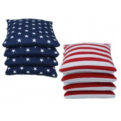 Suede Pro-Style Cornhole Bags. (Set of 8)  Stars & Stripes