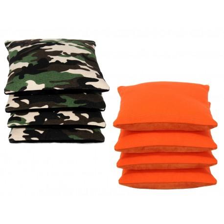 Suede Pro-Style Cornhole Bags. (Set of Camo/Orange